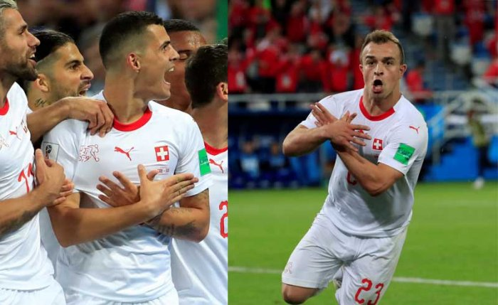 """Switzerland's scorers on Friday, Xhaka and Shaqiri, celebrated their goals by making a """"double eagle"""" gesture with their hands to represent the Albanian flag. (Reuters photos)"""