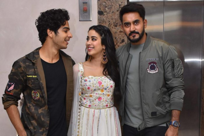 Janhvi Kapoor and Ishaan Khatter with director of Dhadak. (PTI photo)