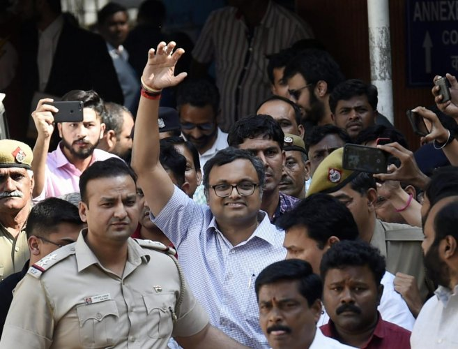 Karti Chidambaram, son of Former Finance Minister P. Chidambaram at Patiala House Court in connection with the INX Media money laundering case, in New Delhi. (PTI Photo)
