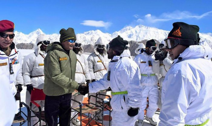 President Ram Nath Kovind shakes hands with soldiers posted at Siachen Base Camp on Thursday. (PTI file photo)