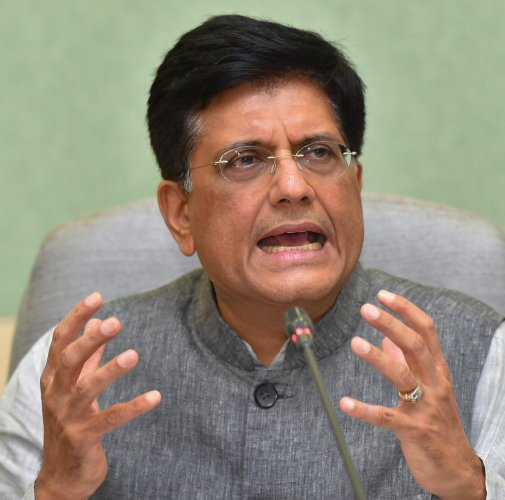 Acting Finance Minister Piyush Goyal gestures as he addresses a press conference in New Delhi. (PTI Photo)