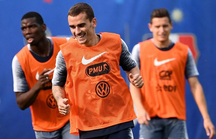 SLOW-STARTER: France's Antoine Griezmann (centre) hasn't fired yet in this World Cup. AFP