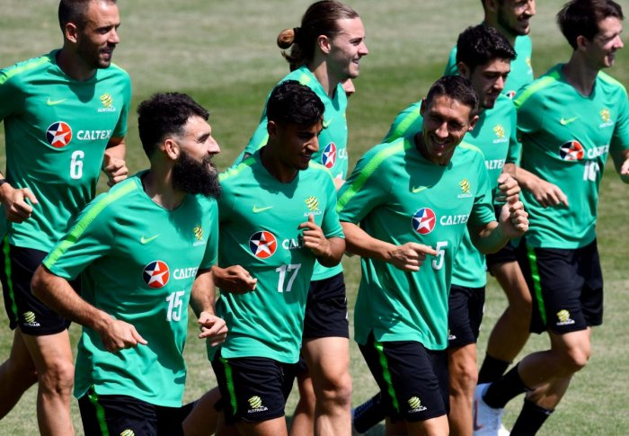 Australia will have to look beyond their skipper Mile Jedinak (left) to score goals for them against Peru. AFP