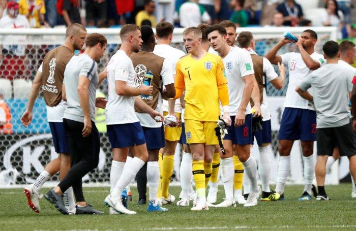 Soccer Football - World Cup - Group G - England vs Panama - Nizhny Novgorod Stadium, Nizhny Novgorod, Russia - June 24, 2018 England's Jordan Pickford and Harry Maguire celebrate victory after the match REUTERS