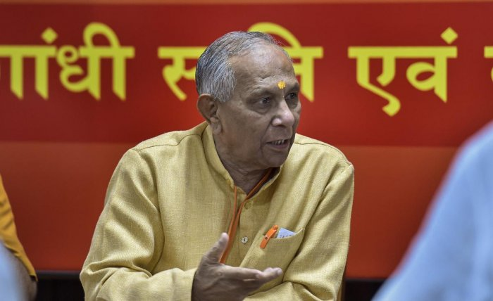 VHP president Vishnu Sadashiv Kokje attends the meeting of VHP Central Managing Committee, in New Delhi on Sunday. (PTI)