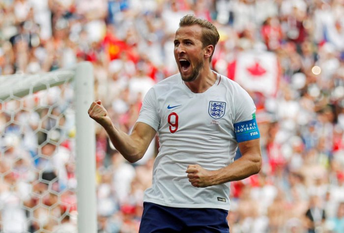 England's Harry Kane celebrates scoring their second goal. Reuters