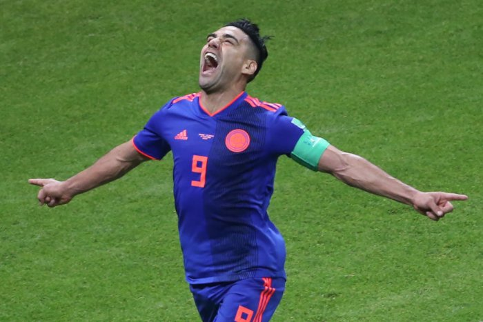MOMENT OF ECSTASY: Colombia's Radamel Falcao celebrates after scoring against Poland during their Group H game on Sunday. AFP
