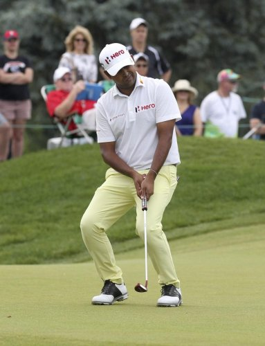 WAYWARD Anirban Lahiri reacts after missing a putt in the final round of the Travelers Championship on Sunday. AP/PTI