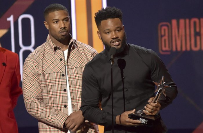 """Michael B. Jordan, left, and Ryan Coogler accept the best movie award for """"Black Panther"""" at the BET Awards at the Microsoft Theater on Sunday, June 24, 2018, in Los Angeles. (AP/PTI Photo)"""