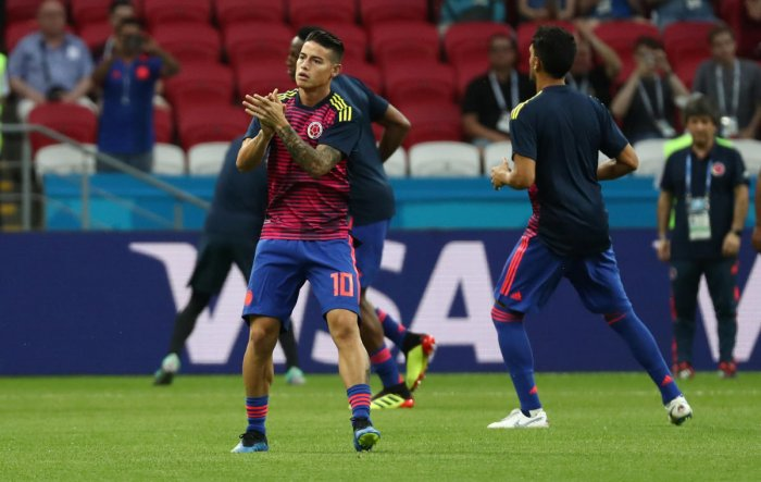Colombia's James Rodriguez during the warm up before the match. Reuters photo.