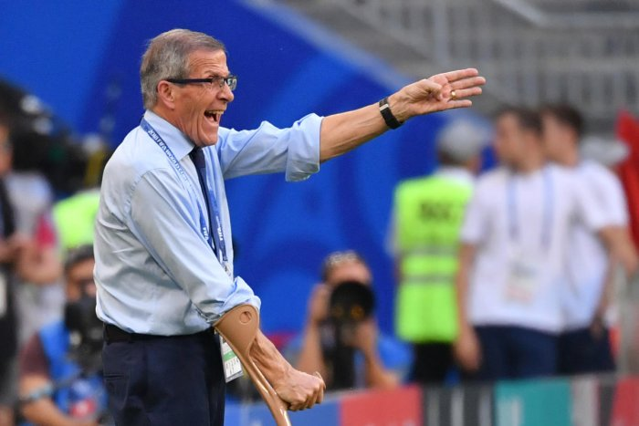Uruguay's coach Oscar Tabarez reacts during their match against Russia on Monday. AFP