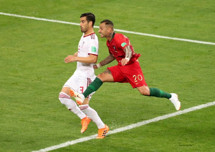 Portugal's Ricardo Quaresma fires his team's first goal against Iran on Monday. REUTERS
