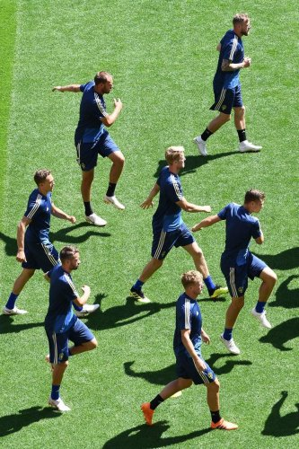 Sweden players during a training session at the Ekaterinburg Arena, in Yekaterinburg, on Tuesday. AFP
