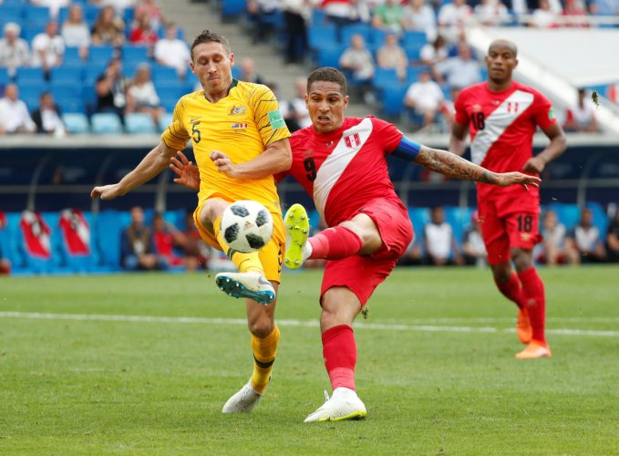 Peru's Paolo Guerrero scores their second goal REUTERS