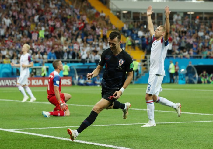 Croatia's Ivan Perisic celebrates scoring their second goal. Reuters