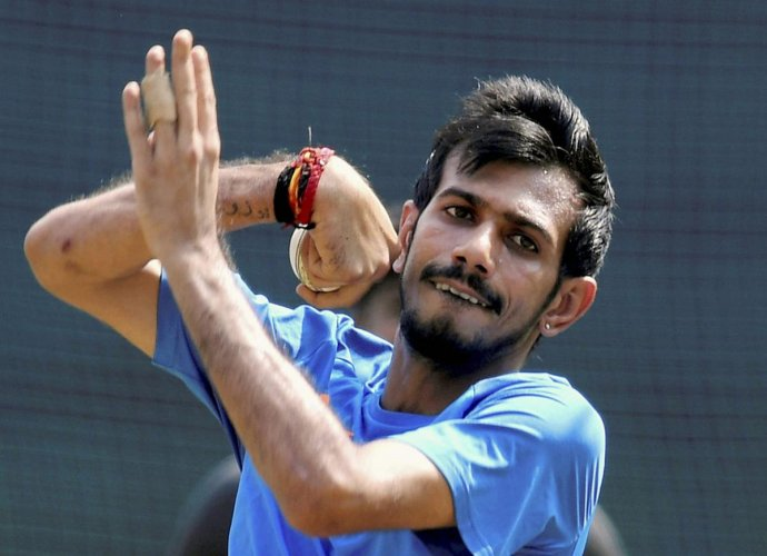 Yuzvendra Chahal during a practice session at the MPCA Holkar Stadium in Indore. (PTI Photo)