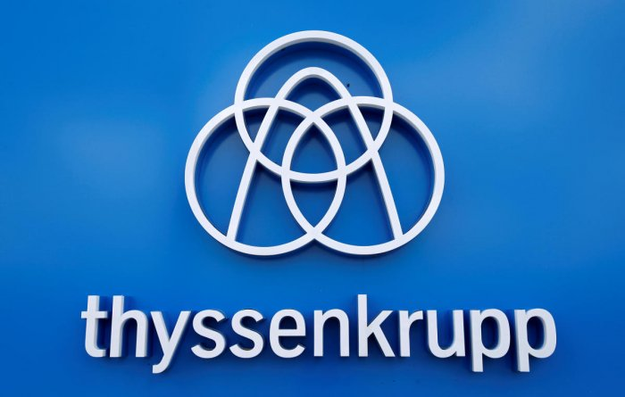 FILE PHOTO: Thyssenkrupp's logo is seen close to the elevator test tower in Rottweil, Germany. Reuters