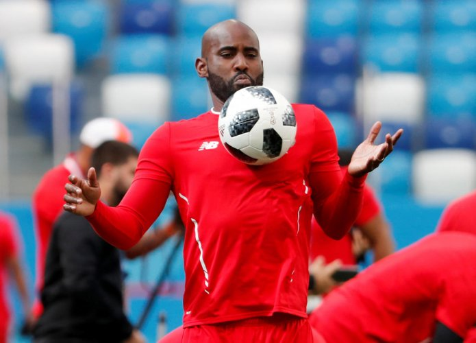 Panama's Felipe Baloy during a training session. REUTERS