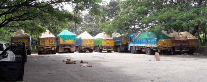 Sand lorry's being parked at Gynanabharati parking place near Gynabharati campus in Bengaluru on Tuesday.
