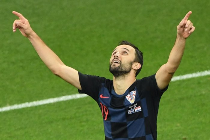 SWEET VOLLEY Croatia's Milan Badelj celebrates after scoring the opening goal against Iceland on Tuesday. AFP