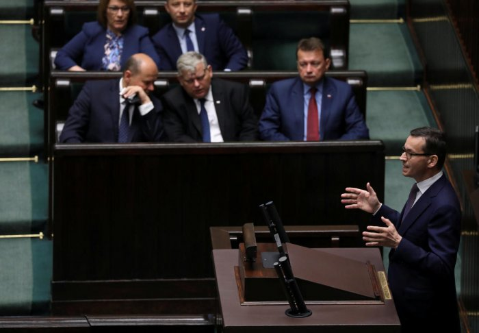 Poland's Prime Minister Mateusz Morawiecki speaks during a debate about the Holocaust bill at lower house of Parliament in Warsaw, Poland. (Reuters Photo)