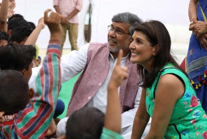 US envoy to the United Nations Nikki Haley today met Nobel Peace Laureate Kailash Satyarthi and reiterated America's commitment to ending child trafficking. Picture courtesy Twitter