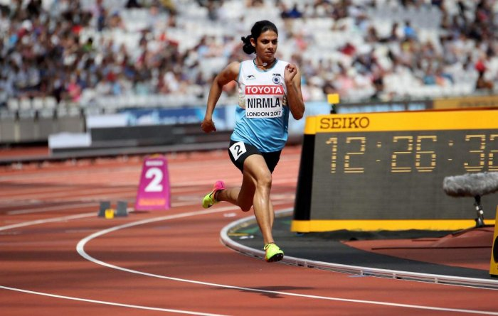 Nirmala Sheoran competes to qualify for the semi-finals in the women's 400m event at the World Athletics Championship in London. (PTI Photo)
