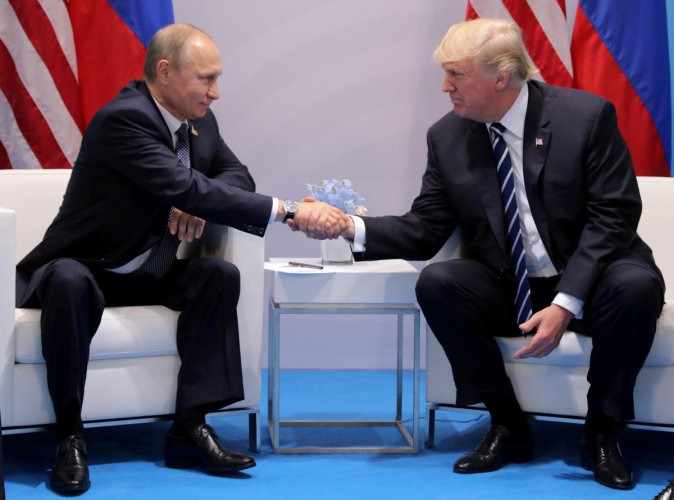 US President Donald Trump shakes hands with Russia's President Vladimir Putin during their bilateral meeting at the G20 summit in Hamburg, Germany July 7, 2017. Reuters file photo