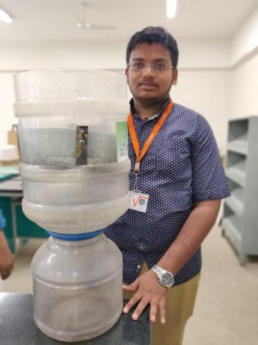 Pavan A, a second-semester student at the MVJ College of Engineering, has already conducted an experiment using intensely polluted water of Bellandur Lake and obtained positive results.