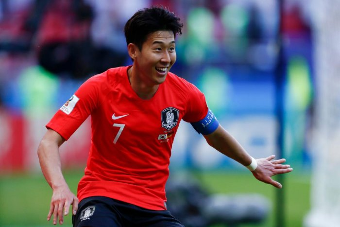 Jubilant: South Korea's Son Heung-min celebrates after scoring against Germany on Wednesday. AFP