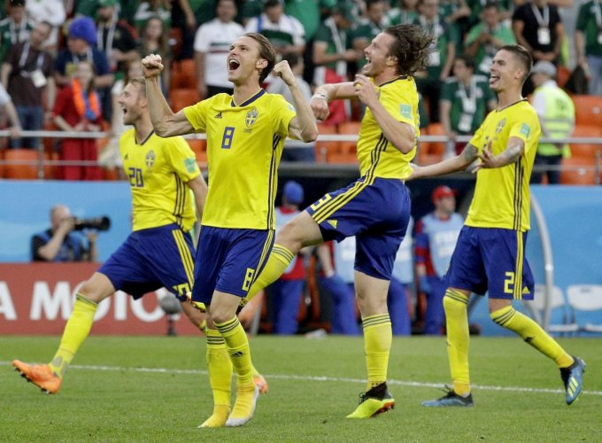 HIGH ON CONFIDENCE Sweden, who stunningly topped a difficult Group F, are now dreaming of bigger things at this World Cup. AP/PTI