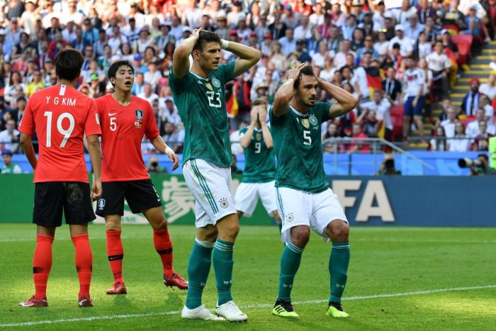 Germany's forward Mario Gomez (L) and Germany's defender Mats Hummels react after failing to score during the Russia 2018 World Cup Group F football match between South Korea and Germany at the Kazan Arena in Kazan. AFP