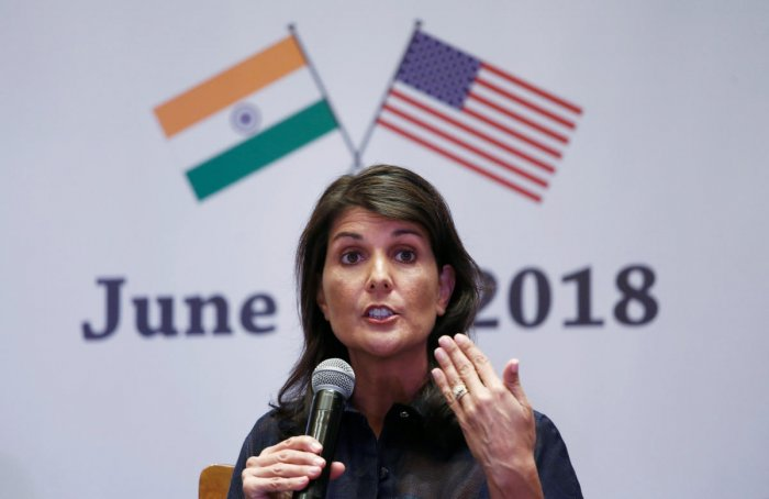 U.S. Ambassador to the United Nations Nikki Haley addresses a gathering on advancing India-U.S. relations, in New Delhi. (Reuters Photo)
