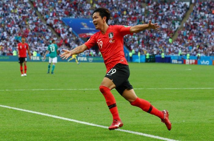 South Korea's Kim Young-gwon celebrates scoring their first goal. Reuters photo