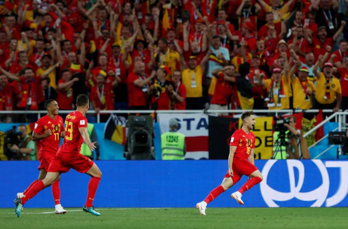 Belgium's Adnan Januzaj celebrates scoring their first goal. Reuters