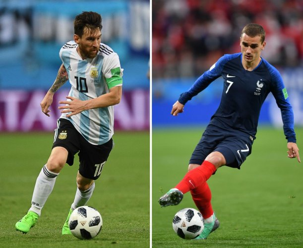 TIME TO DELIVER: Argentina's Lionel Messi (left) and France's Antoine Griezmann, two strikers who have failed to live up to their full potential, will be looking to fire all guns blazing on Saturday. AFP