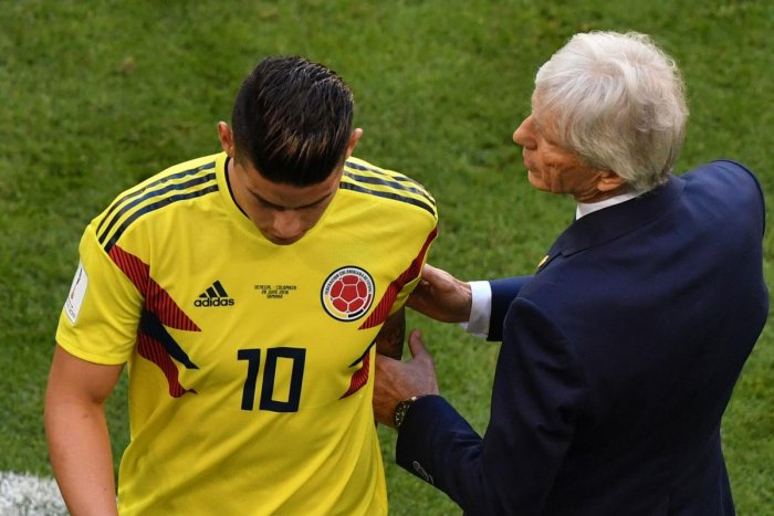 MASSIVE BLOW: Colombia's James Rodriguez limped out after 30 minutes during their clash against Senegal, leaving coach Jose Pekerman a worried man. AFP
