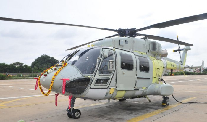 The green helicopter earmarked for Indian Coast Guard (ICG) that had its maiden ground run at HAL here on Thursday.