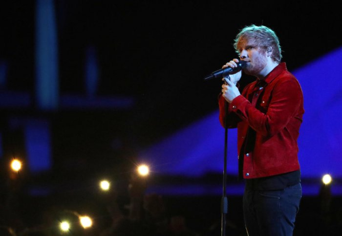 Ed Sheeran performs at the Brit Awards at the O2 Arena in London. (Reuters file photo)