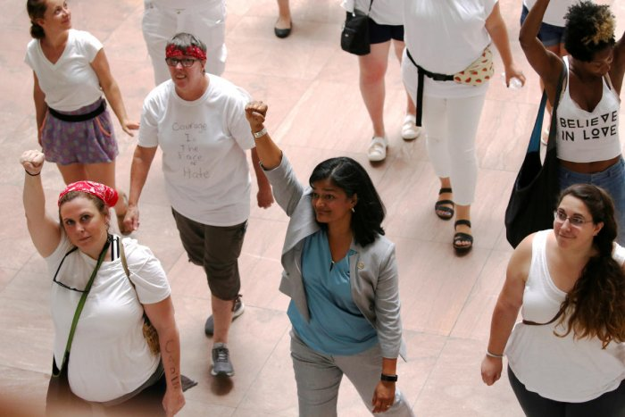 Jayapal was arrested along with over 500 other women at Capitol Hill on Thursday. (Reuters Photo)
