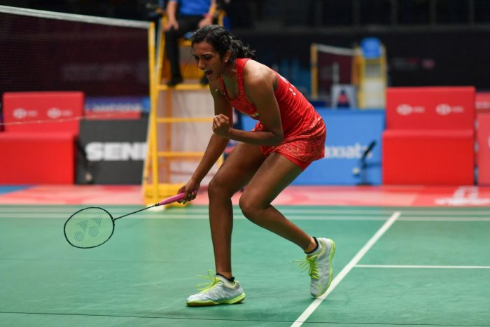SUPERB SHOW: PV Sindhu celebrates her win over Carolina Marin in the quarterfinals of the Malaysia Open on Friday. AFP