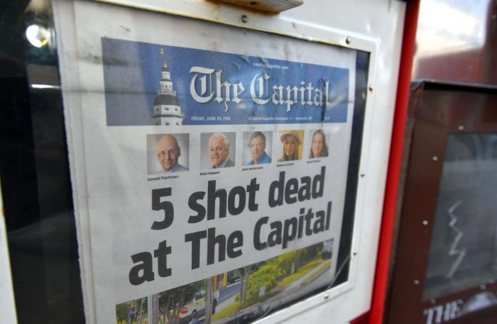 The Capital Gazette of June 29, 2018, is seen in a newspaper vending box in Annapolis, Maryland. AFP