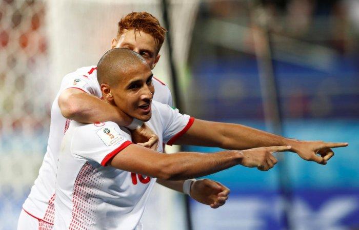 Tunisia's Wahbi Khazri celebrates scoring their second goal with team mates. Reuters