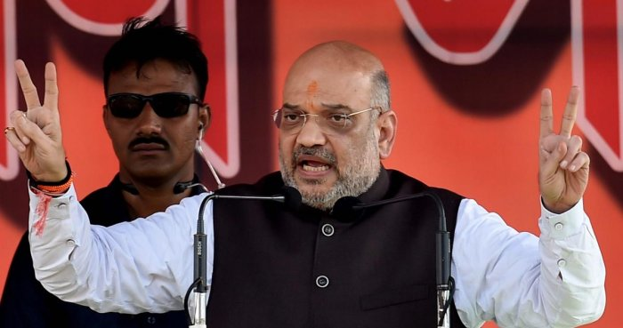 BJP National President Amit Shah addresses a public rally, in Purulia district of West Bengal on Thursday, June 28, 2018. (PTI Photo)