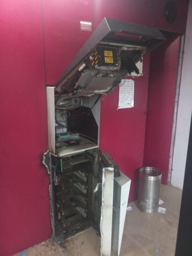 The Axis Bank ATM broke open by thieves in Kamalapur in Kalaburagi district on Thursday.