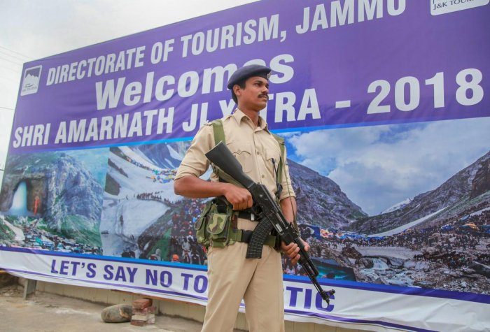 Jammu: A paramilitary soldier stands guard inside the Amarnath yatra base camp, in Jammu on Friday, June 29, 2018. PTI.