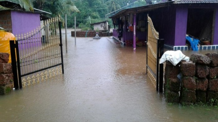 The house of Rajesh Naik was inundated at Ulluru in Byndoor.