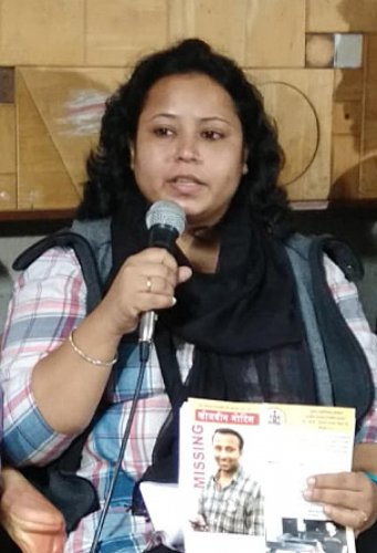 Kumar Ajitabh's sister Pragya Sinha addresses a press meet in Bengaluru on Friday. DH Photo