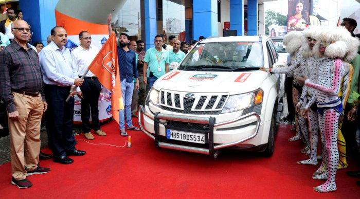Commissioner of Police T R Suresh waved the flag to the first few vehicles.