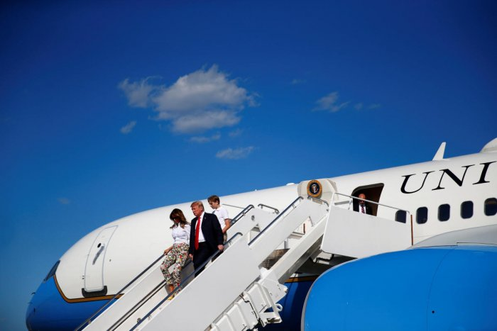 U.S. President Donald Trump, First Lady Melania Trump and their son Barron disembark Air Force One in Morristown, New Jersey, from Joint Base Andrews, Maryland, U.S., June 29, 2018. Reuters.